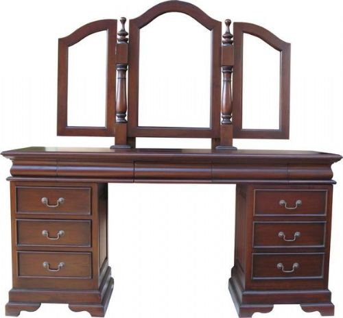 Sleigh Dressing Table and Mirror in Mahogany